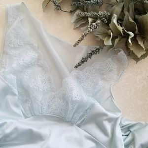Vintage SHADOWLINE Blue Nightgown Gown Lingerie